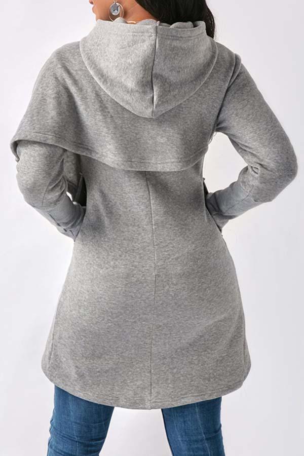 Lovely Trendy Asymmetrical Grey Hoodies