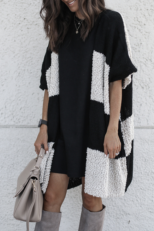Lovely Color-lump Patchwork Black Cardigan