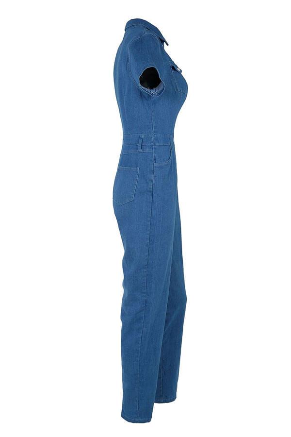 Lovely Fashion Turndown Collar Buttons Blue Denim One-piece Jumpsuits
