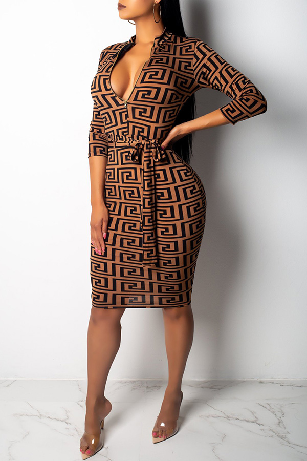 Lovely African Printed Slim Brown Knee Length Dress
