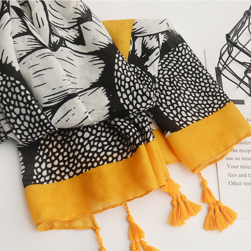 Lovely Casual Patchwork Yellow Cotton Scarves