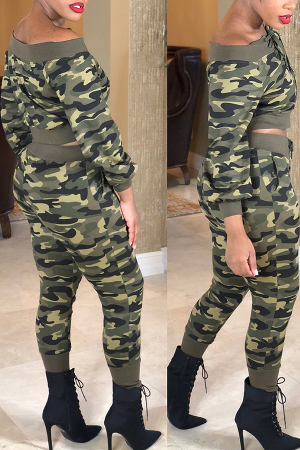 Lovely Casual Camouflage Printed Twilled Satin Two-piece Pants Set