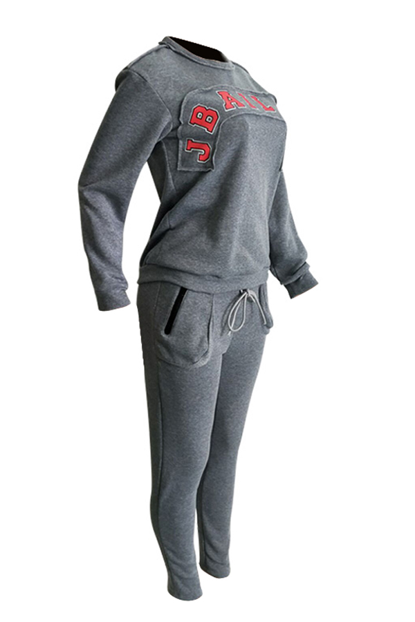 Lovely Casual Letters Printed Grey Two-piece Pants Set