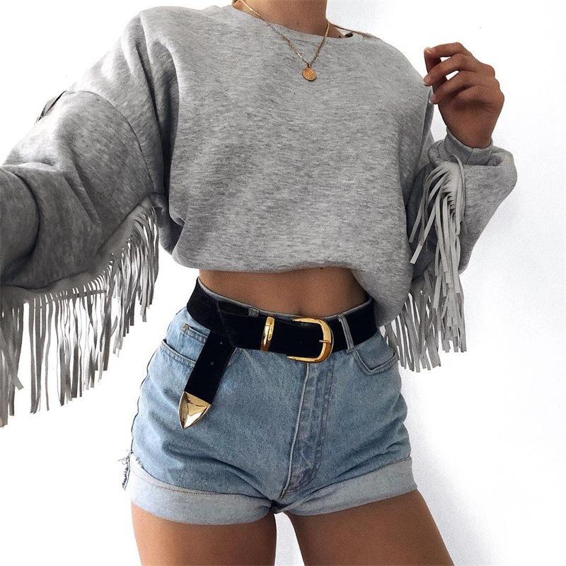 Lovely Euramerican Tassel Design Grey Cotton Hoodies