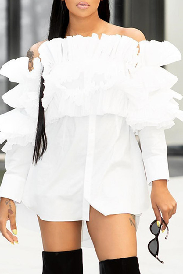Lovely Sweet Hubble-bubble Sleeves White Blouses