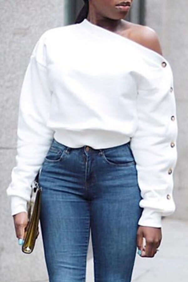 Lovely Trendy Long Sleeves White Sweats