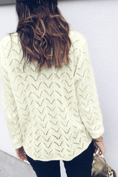 Lovely Sweet Hollowed-out White Sweaters