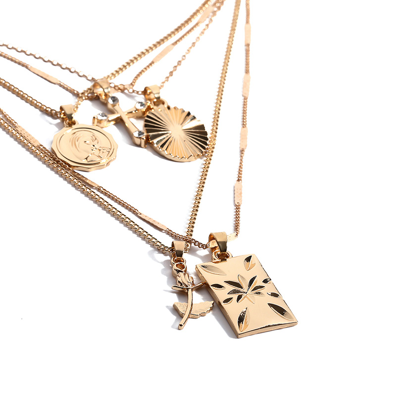 Lovely Chic  Layered Gold Metal Necklace