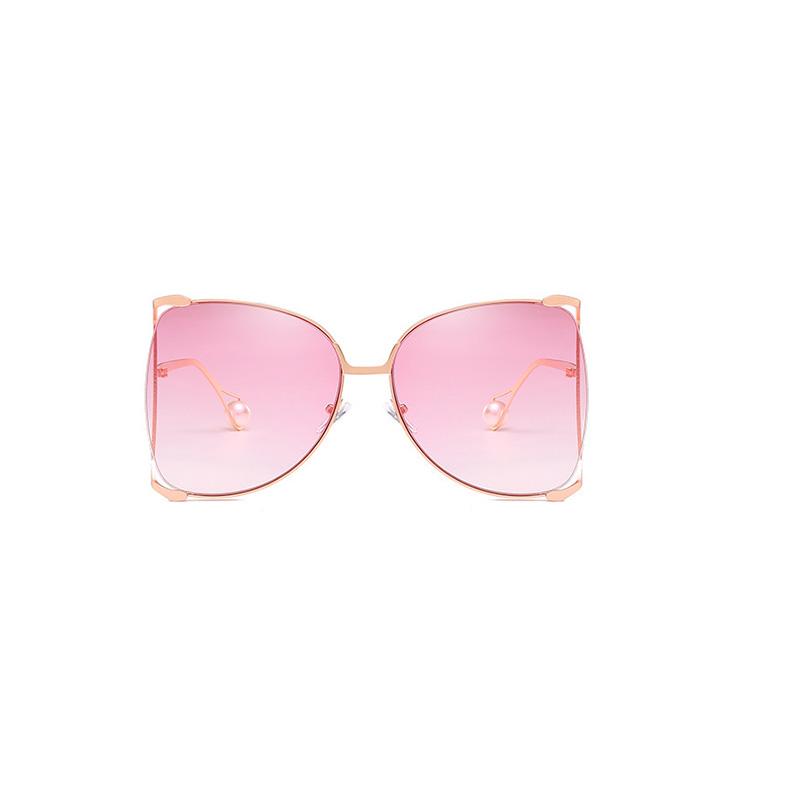 Gafas De Sol De Metal Rosa Claro Con Cambio Gradual, Elegantes Y Elegantes