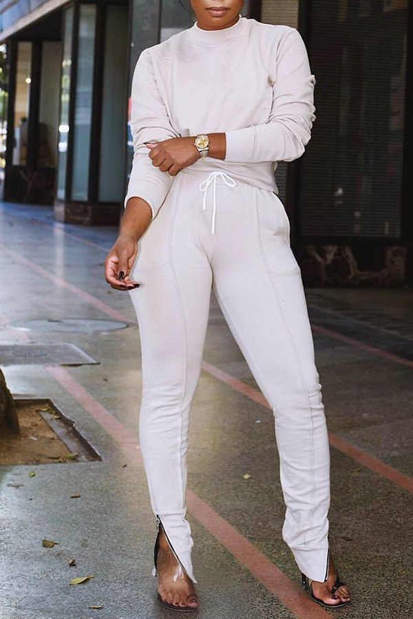 Lovely Casual Lace-up White Blending Two-pieces Pants Set