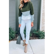 Lovely Trendy Long Sleeves Patchwork Green Sweater