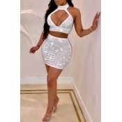 Lovely Sexy Sleeveless Rhinestone Decorative White Two-piece Skirt Set