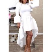 Lovely Casual Asymmetrical Flare Sleeves White Ankle Length Dress