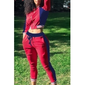 Lovely Euramerican Color-lump Patchwork Red Cotton Blends Two-piece Pants Set