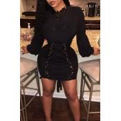 Lovely Sweet Bandage Design Black Twilled Satin Mini Dress