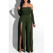 Lovely Casual Side High Slit Army Green Knitting O