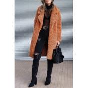 Lovely Euramerican Long Sleeves Brown Imitation Wo