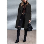 Lovely Euramerican Long Sleeves Black Imitation Wool Coats