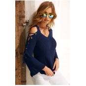 Lovely Sweet Bandage Design Dark Blue Sweaters
