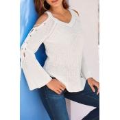 Lovely Sweet Bandage Design White Sweaters