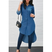 Lovely Euramerican Asymmetrical Blue Cotton Blends