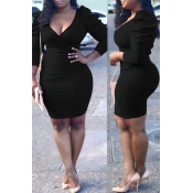Lovely Vogue Slim Black Blending Mini Dress