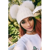 Lovely Euramerican Winter White Sweater Hats