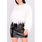 Lovely Sweet Tassel Design White Blending Sweaters