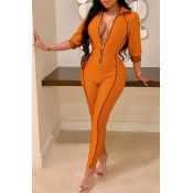 Lovely Casual Zippers Design Skinny Gold Twilled Satin One-piece Jumpsuit