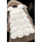 Lovely Trendy Luxury White Faux Fur Vests