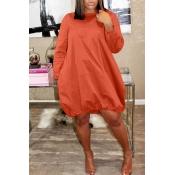 Lovely Euramerican Long Sleeves Loose Orange Knee Length Dress