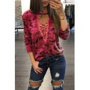 Lovely Casual Camouflage Printed Red Blouses