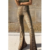 Lovely Euramerican Flared Leopard Cotton Pants