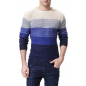 Lovely Casual Color-lump Blue Cotton Sweaters