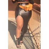 Lovely Sexy Side High Slit Black PU Mid Calf Skirt