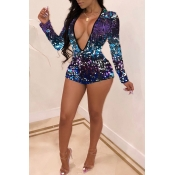 Lovely Sexy Sequined Decorative Purple Blending On