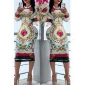 Lovely Casual Printed White Knee Length Dress