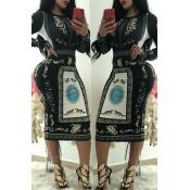 Precioso Vestido Negro Estampado Informal De Media Pantorrilla