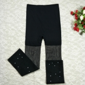 Lovely Casual Patchwork Black Socks