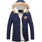 Lovely Euramerican Hooded Collar Navy Blue Cottonp