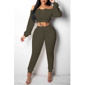 Lovely Euramerican Dew Shoulder Army Green Twilled Satin Two-piece Pants Set