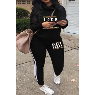 Lovely Casual Long Sleeves Letters Printed Black Twilled Satin Two-piece Pants Set