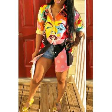 Lovely Trendy Portrait Printed  Multicolor Mini Dress