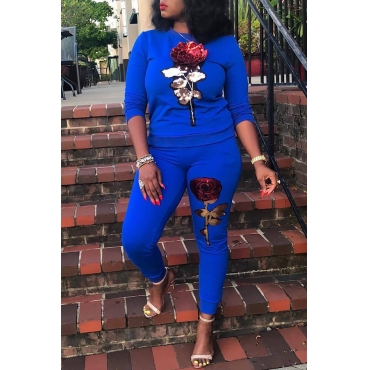 Lovely Casual Long Sleeves Bead Piece Embroidered Blue Two-piece Pants Set