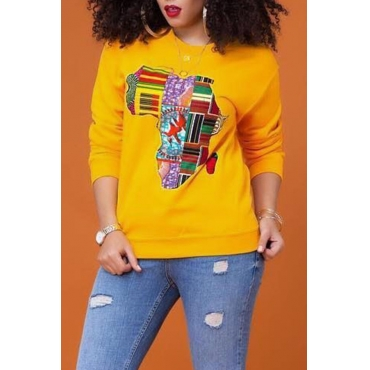 Lovely  Casual Long Sleeves Printed Yellow Hoodies