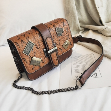 Lovely Retro Buckles Design Brown Patent Leather  Messenger