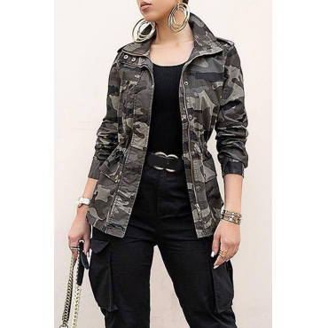 Lovely Euramerican Long Sleeves Camouflage Printed Cotton Jacket
