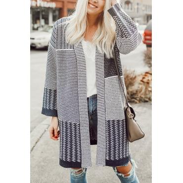 Lovely Casual Geometric Printed Long Dark Blue Cardigan Sweaters