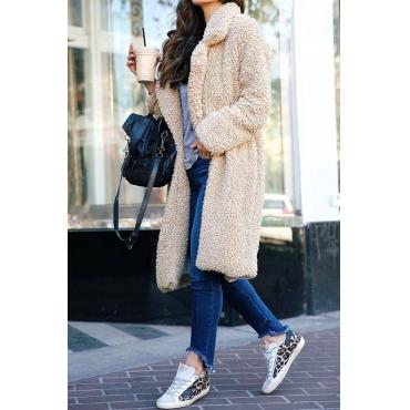 Lovely Euramerican Long Sleeves Apricot Imitation Wool  Coats