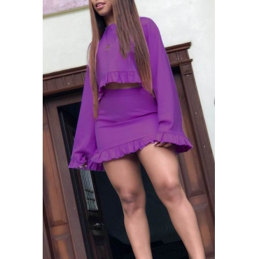 Lovely Sweet Flounce Design Purple Twilled Satin Two-piece Skirt Set